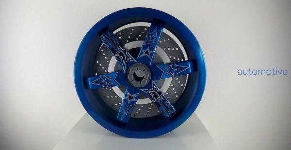 Simulazione 3d layout nuovo cerchio in lega auto (settore automotive).